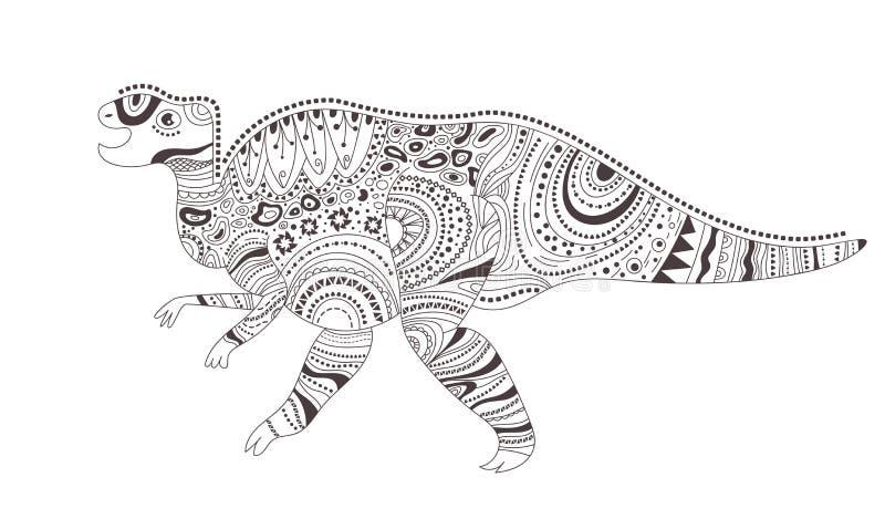 dinosaur Färga sidan vektor cartoon Isolerad konst vektor illustrationer