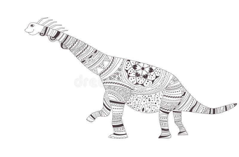 dinosaur Färga sidan vektor cartoon Isolerad konst royaltyfri illustrationer