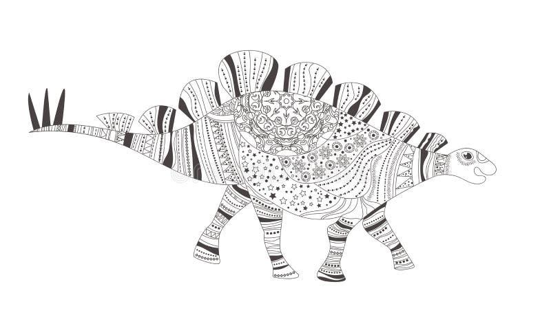 dinosaur Färga sidan vektor cartoon Isolerad konst på vit stock illustrationer