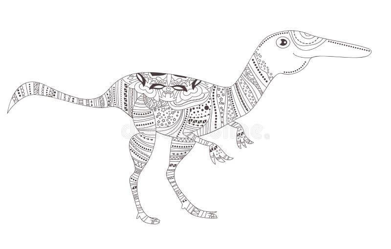 dinosaur Färga sidan vektor cartoon Isolerat djur vektor illustrationer