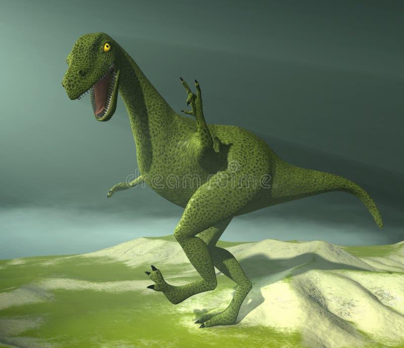 Dinosaur on foggy background vector illustration