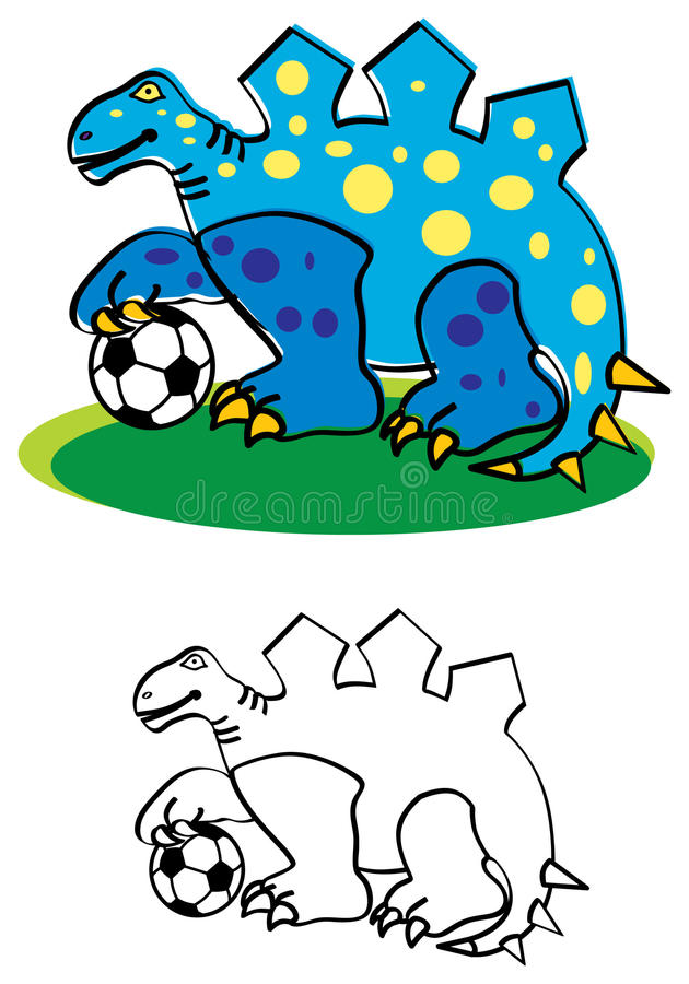 Download Dinosaur with football stock vector. Image of colorful - 13776839