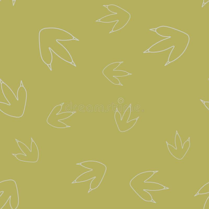 Dinosaur footprint contour seamless pattern vector illustration