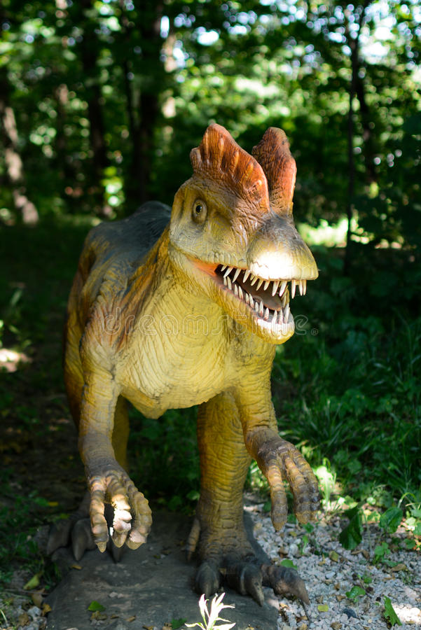 Dinosaur. In a forest. Picture taken in  Park in Lesser Poland stock image