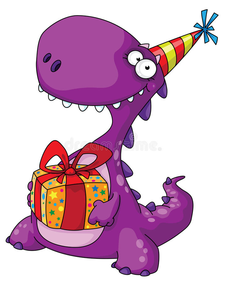 Dinosaur and a gift stock illustration