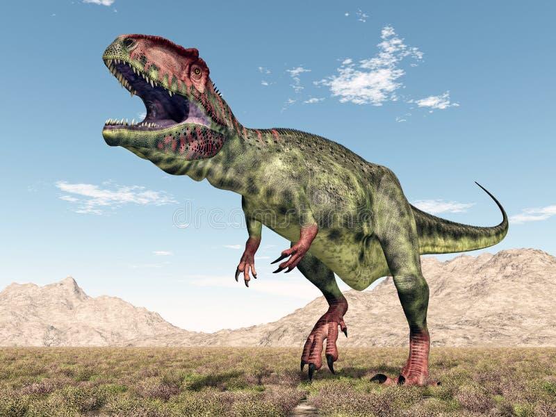 Dinosaur Giganotosaurus. Computer generated 3D illustration with the dinosaur Giganotosaurus stock illustration