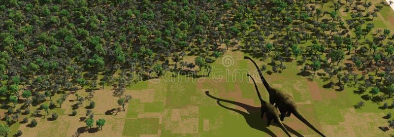 Dinosaur in a Green Forrest vector illustration