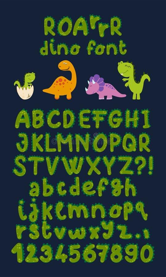Dinosaur hand drawn vector cartoon alphabet color sticker set. stock photo