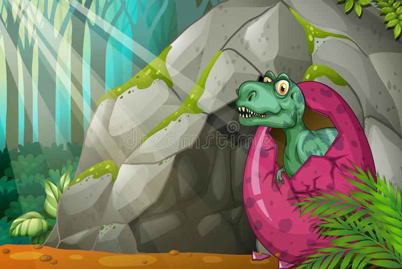 Dinosaur hatching egg in front of cave. Illustration vector illustration