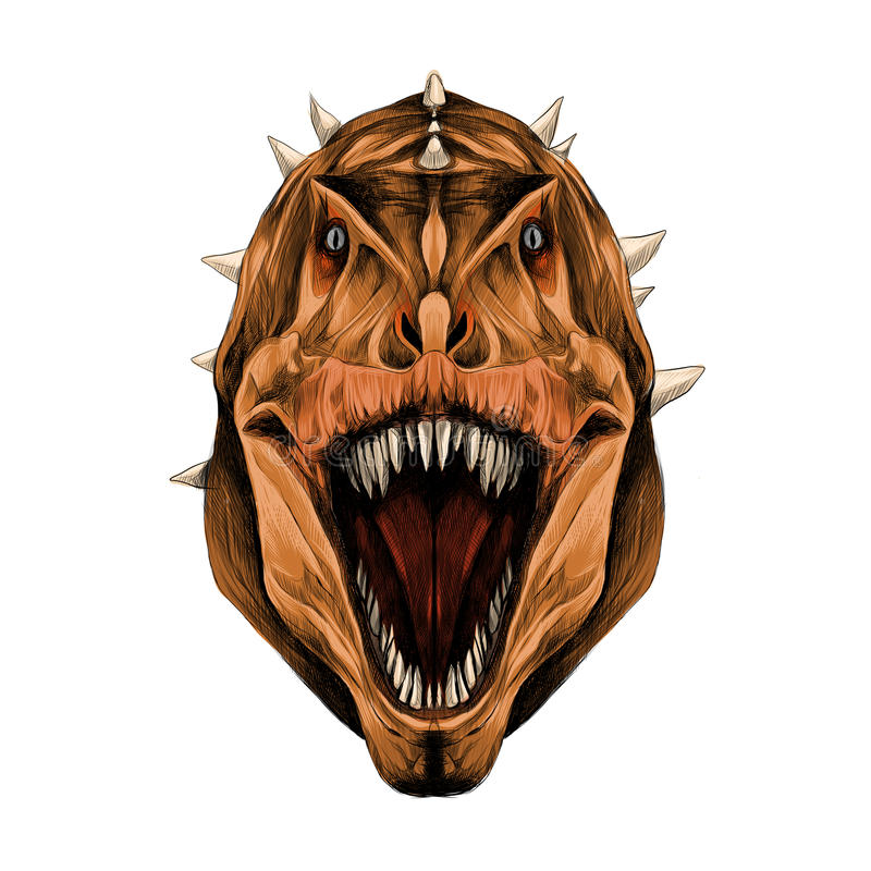 The dinosaur head open mouth sketch vector graphics vector illustration