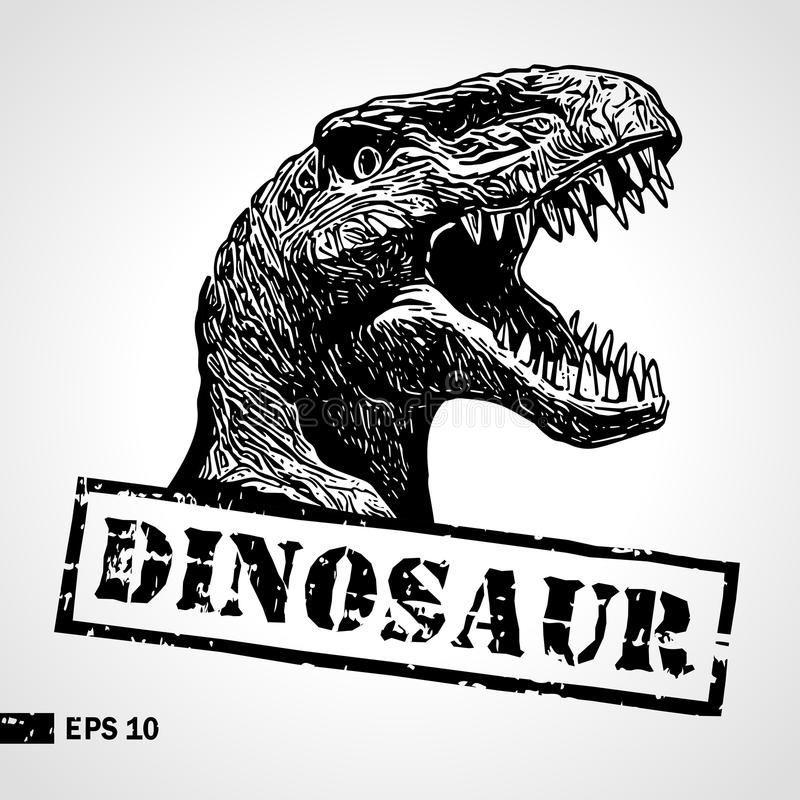 Dinosaur head. Sketch. Vintage print. Poster, logotype. Can be used for shirt print, fashion print design. Vector vector illustration