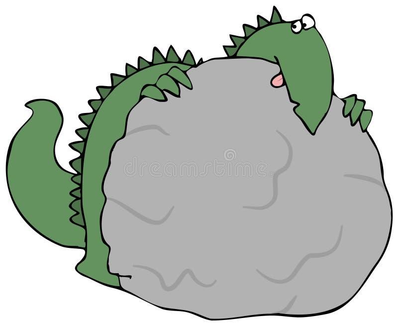 Dinosaur Hiding Behind A Rock stock illustration
