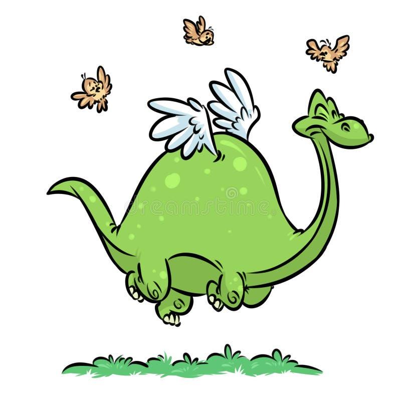 Dinosaur hipotezy ewoluci kreskówki ptasia ilustracja ilustracja wektor
