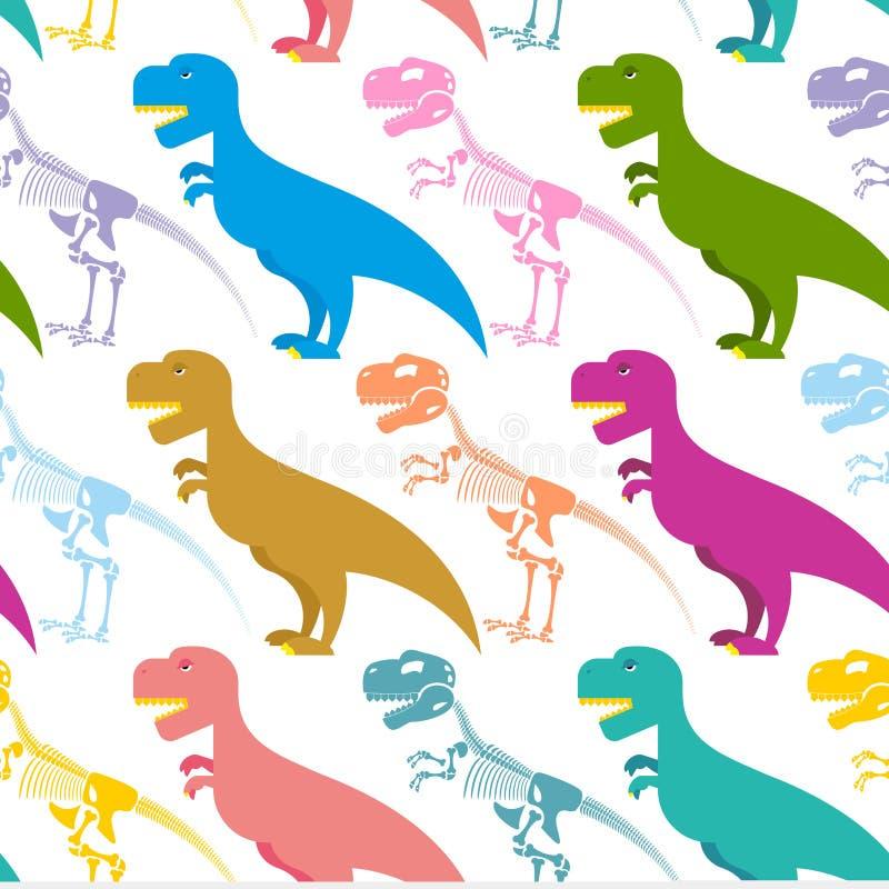 Dinosaur i zredukowany bezszwowy wzór Tyrannosaurus T-Rex royalty ilustracja
