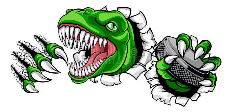 Dinosaur Ice Hockey Player Animal Sports Mascot vector illustration