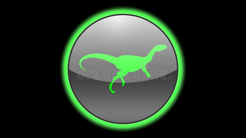Dinosaur icon vector design. Green neon icons with animals. Animals icons vector stock illustration