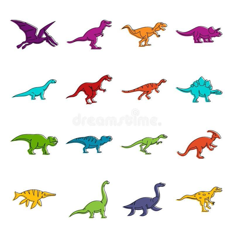 Dinosaur icons doodle set. Dinosaur icons set. Doodle illustration of vector icons isolated on white background for any web design royalty free illustration