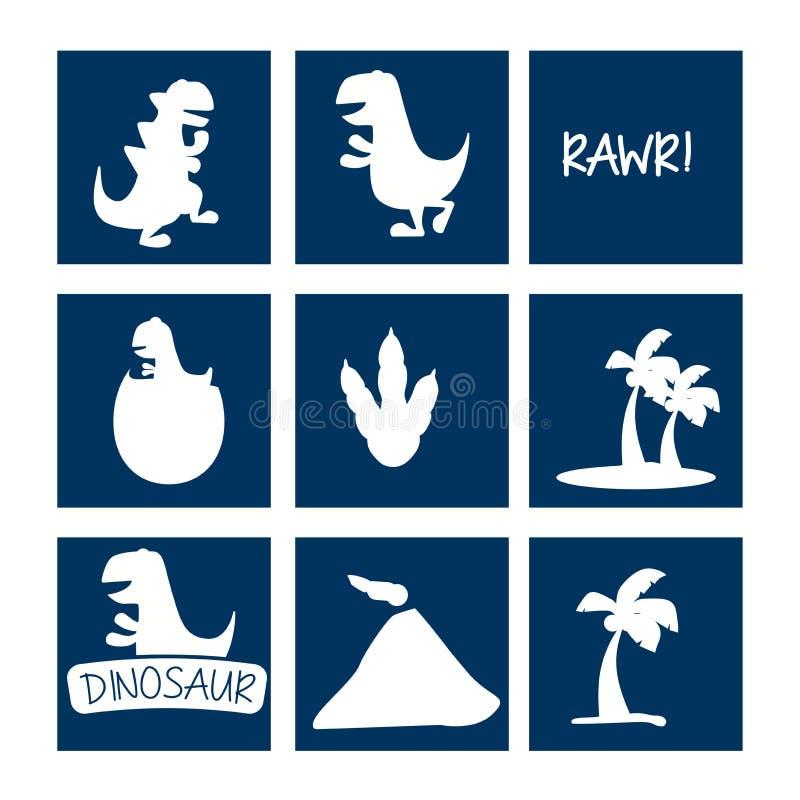 Dinosaur ikony set ilustracja wektor