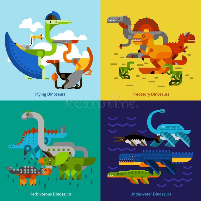 Dinosaur ikony ustawiać royalty ilustracja