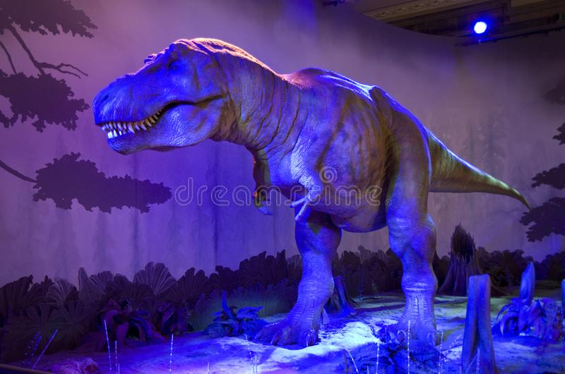 Dinosaur imitation Natural History Museum London. A Dinosaur could move and cried in the Natural History Museum of London royalty free stock image