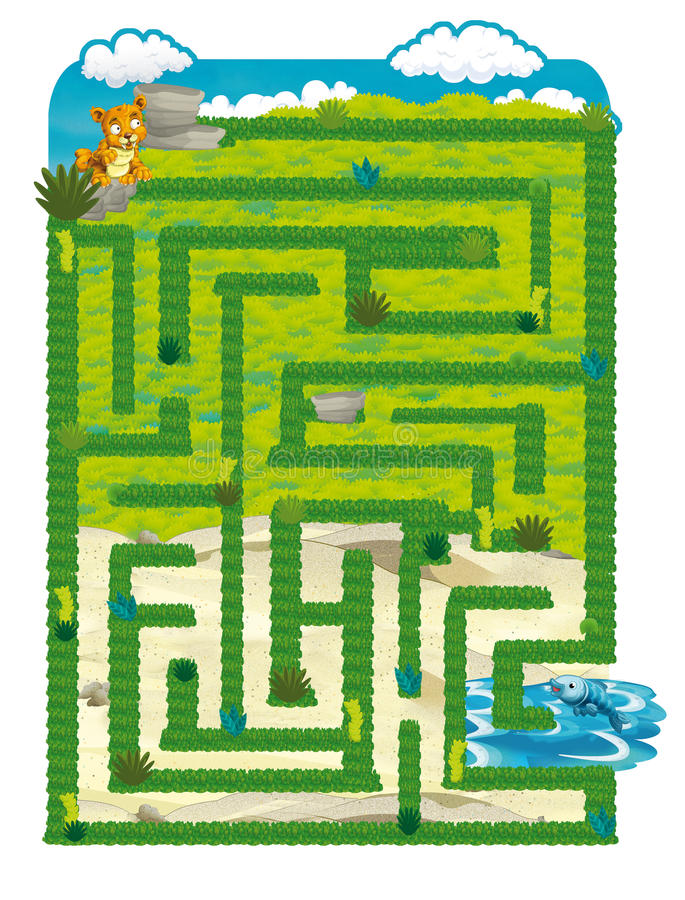 The dinosaur land - game for kids - maze royalty free illustration
