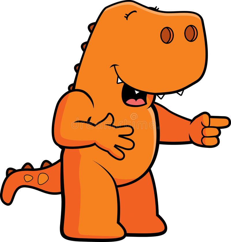 Dinosaur Laughing. A cartoon dinosaur laughing and pointing