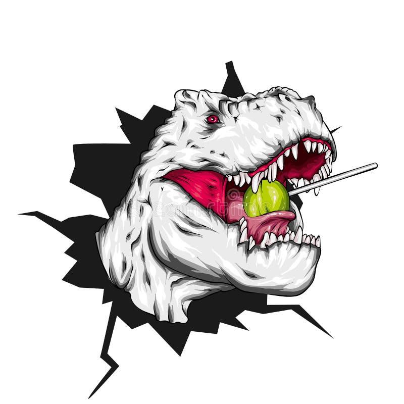 dinosaur ljus vektor f?r caterpillarillustrationpome Tecknad filmreptil tyrannosaur Tryck på kläder som drar för vykort hipster k royaltyfri illustrationer
