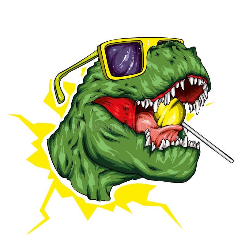 dinosaur ljus vektor f?r caterpillarillustrationpome Tecknad filmreptil tyrannosaur Tryck på kläder som drar för vykort hipster k stock illustrationer