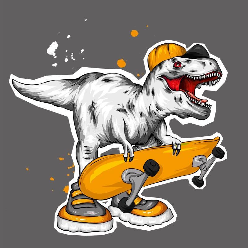 dinosaur ljus vektor f?r caterpillarillustrationpome Tecknad filmreptil tyrannosaur Tryck på kläder som drar för vykort hipster s stock illustrationer