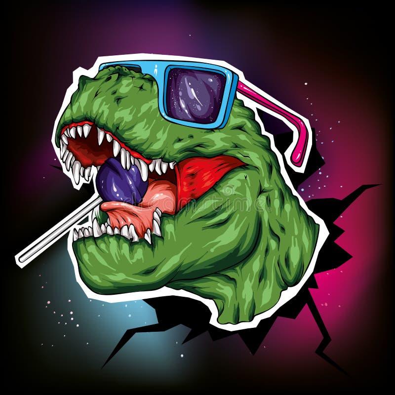 dinosaur ljus vektor f?r caterpillarillustrationpome Tecknad filmreptil tyrannosaur Tryck på kläder som drar för vykort hipster k vektor illustrationer
