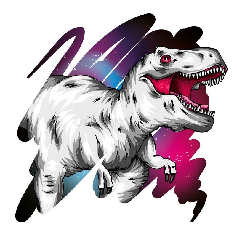dinosaur ljus vektor f?r caterpillarillustrationpome Tecknad filmreptil tyrannosaur Tryck på kläder som drar för vykort hipster royaltyfri illustrationer