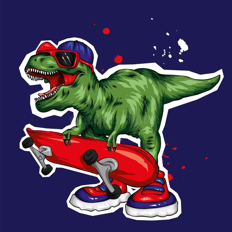 dinosaur ljus vektor f?r caterpillarillustrationpome Tecknad filmreptil tyrannosaur Tryck på kläder som drar för vykort hipster s vektor illustrationer