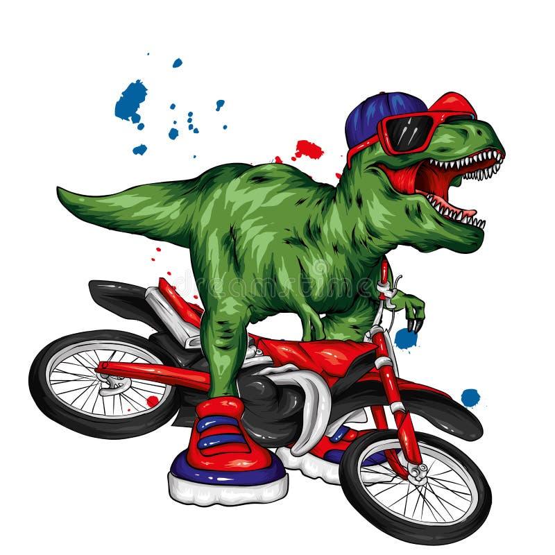 dinosaur ljus vektor f?r caterpillarillustrationpome Tecknad filmreptil tyrannosaur Tryck på kläder som drar för vykort hipster stock illustrationer