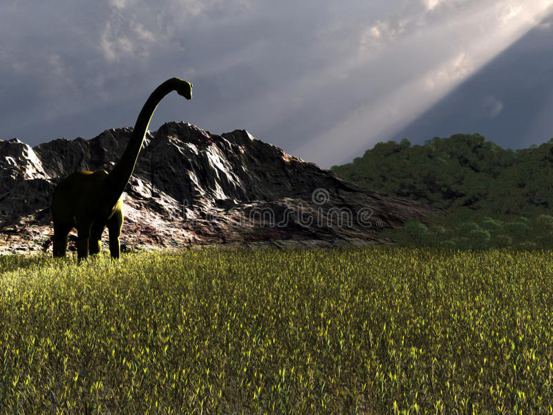 Dinosaur looking for food. Big Dinosaur walking in the afternoon looking for food royalty free stock photos