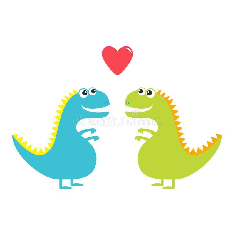 Dinosaur miłości para ustawia odosobnionego na białym tle Czerwony serce szczęśliwe dni valentines grunge tła miłości księgi kart royalty ilustracja