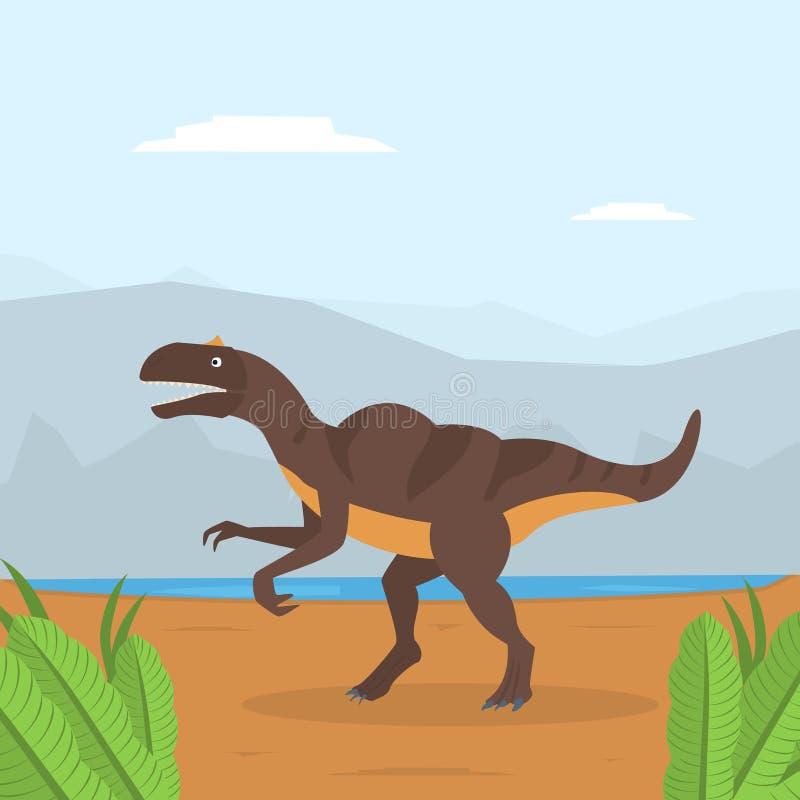Dinosaur na góra krajobrazie, Prehistoryczny zwierzę na natury tła wektoru ilustracji royalty ilustracja