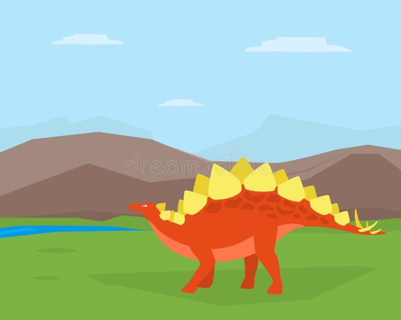 Dinosaur na Pięknym góra krajobrazie, Spinosaurus Prehistoryczny zwierzę na natura wektoru ilustracji ilustracji