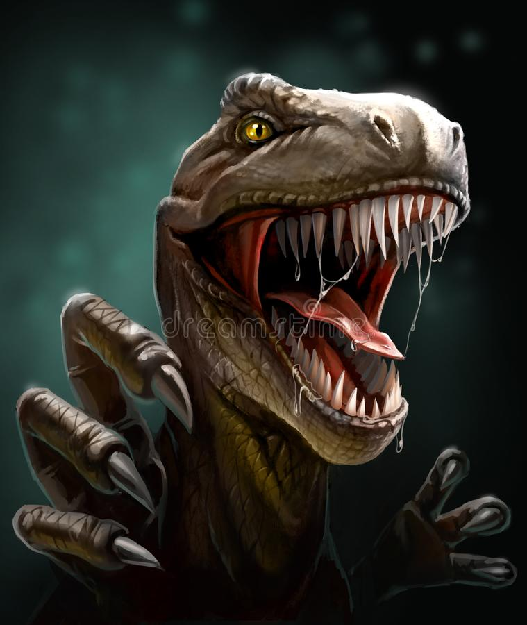 Dinosaur with teeth and claws, close-up. Dinosaur with open toothy mouth and drool, claws jumping on the victim stock illustration