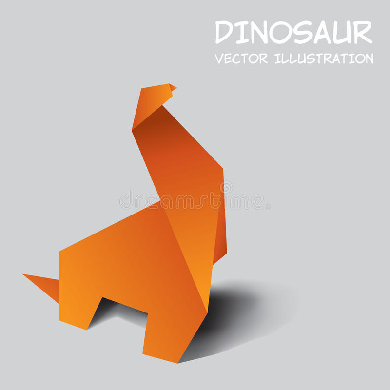 Dinosaur origami. On grey background stock illustration