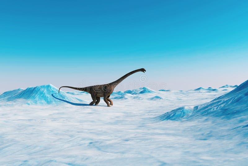 dinosaur Paesaggio preistorico della neve, valle del ghiaccio con i dinosauri Vista artica illustrazione di stock