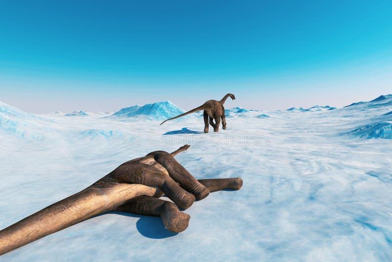 dinosaur Paesaggio preistorico della neve, valle del ghiaccio con i dinosauri Vista artica royalty illustrazione gratis