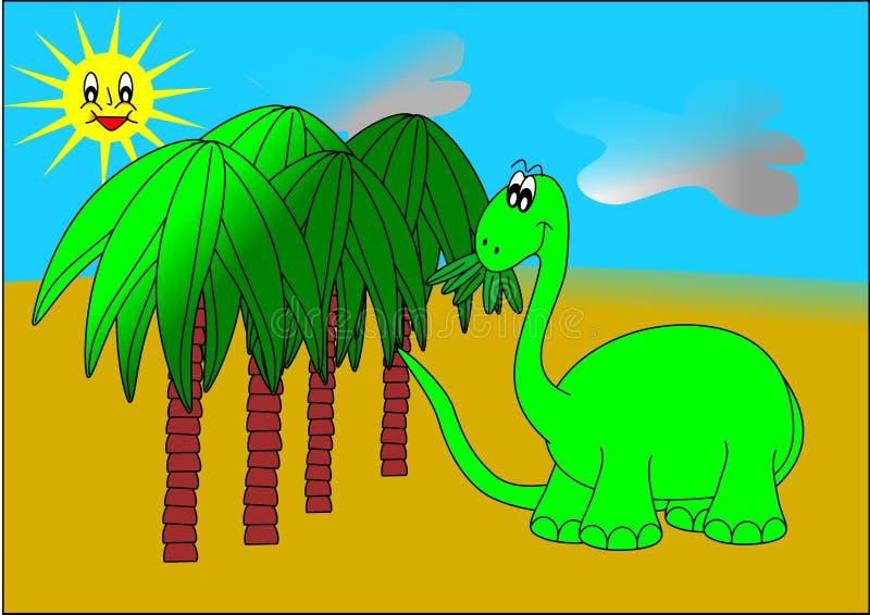 Dinosaur And Palm Trees Royalty Free Stock Photo