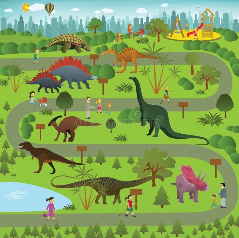 Dinosaur park. Vector illustration of jurassic garden in the city (dinosaur park vector illustration
