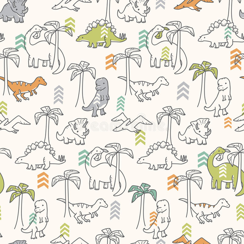 Dinosaur Pattern Stock Vector Illustration Of Repeating