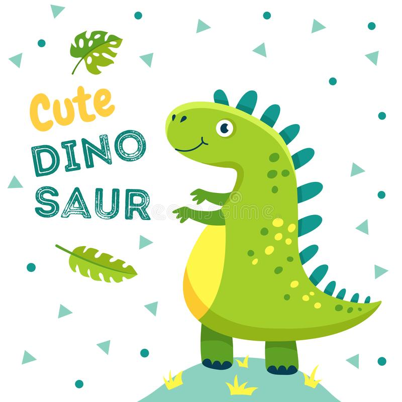 Dinosaur poster. Cute baby dino funny monsters jurassic animals dragon dinosaurs fashion kids t-shirt design vector stock illustration