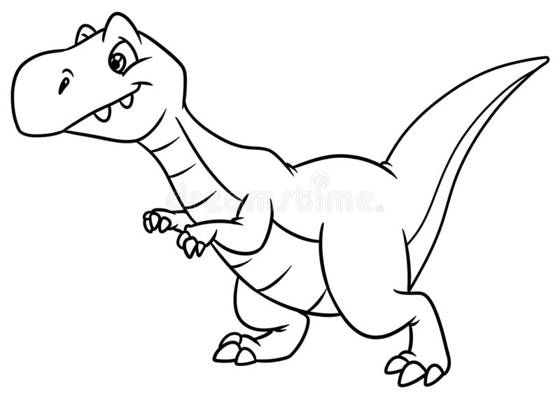 Dinosaur predator animal character cartoon coloring page. Dinosaur  predator animal character cartoon illustration isolated image coloring page stock illustration