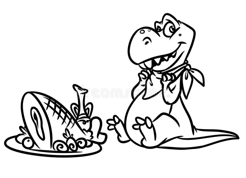 Dinosaur predator breakfast Jurassic period coloring pages. Image animal character vector illustration