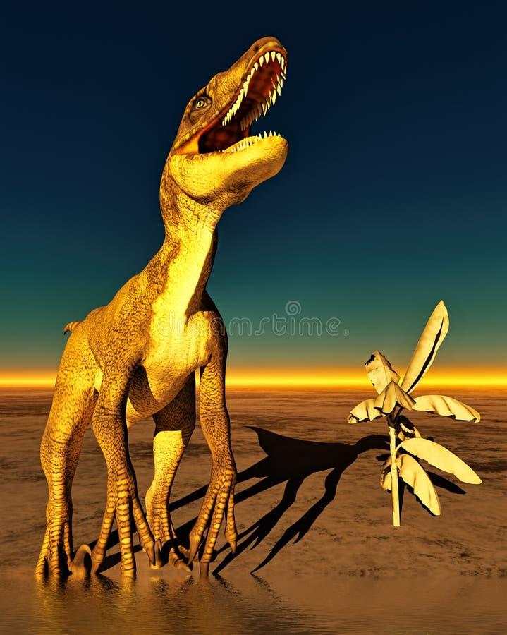 Dinosaur. Prehistoric landscape with big dinosaur royalty free illustration