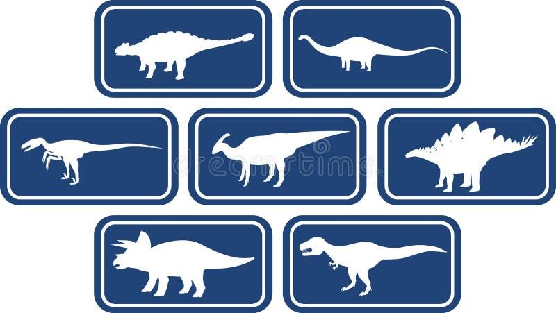 Dinosaur Rectangular Emblem Set Deep Blue royalty free illustration