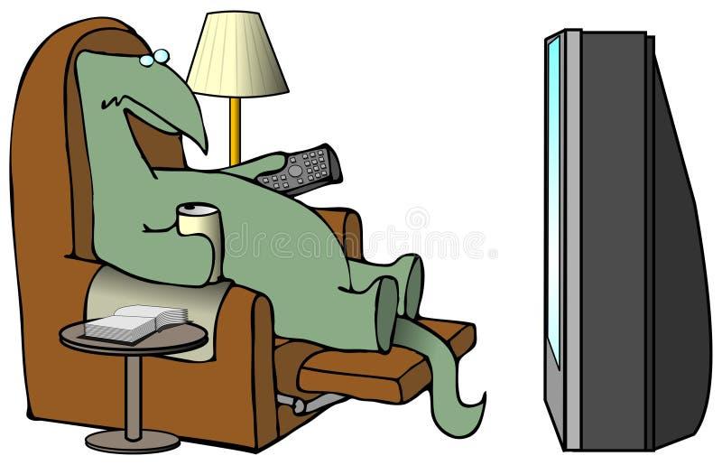 Dinosaur regardant la TV illustration de vecteur